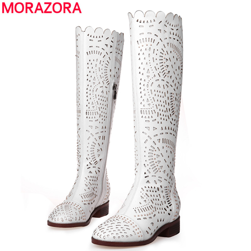ФОТО 2017 new autumn summer knee high boots hollow pu soft leather motorcycle boots for women sexy lady shoes white