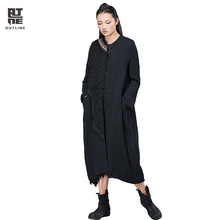 Outline Women Stand Collar Pockets Irregular Patchwork Loose Spliced Vintage Single Breasted Black Long Cotton-Padded L154Y026