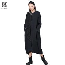 Outline Women Stand Collar Pockets Irregular Patchwork Loose Spliced Vintage Single Breasted Black Long Cotton-Padded L154Y026
