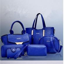 Las nuevas 2015 mujeres del bolso de cuero mujeres Messenger bags ladies marca diseña bolsa bolso + bolso del mensajero + Purse 6 Sets GD05