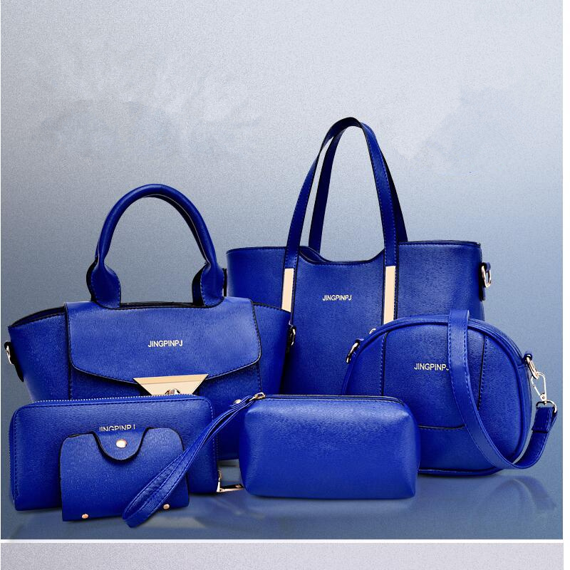 New 2015 women handbags leather handbag women messenger bags ladies brand designs bag Handbag+Messenger Bag+Purse 6 Sets GD05 клатч 2015 women handbags 2015 110 women leather bags 2015