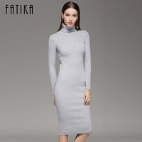 FATIKA 2017 Women Autumn Winter Sweater Knitted Dresses Slim Elastic Turtleneck Long Sleeve Sexy Lady Bodycon