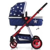 Роскошные Детские коляски Высокая пейзаж детская коляска новорожденного коляска poussette paysage haute kinderwagen
