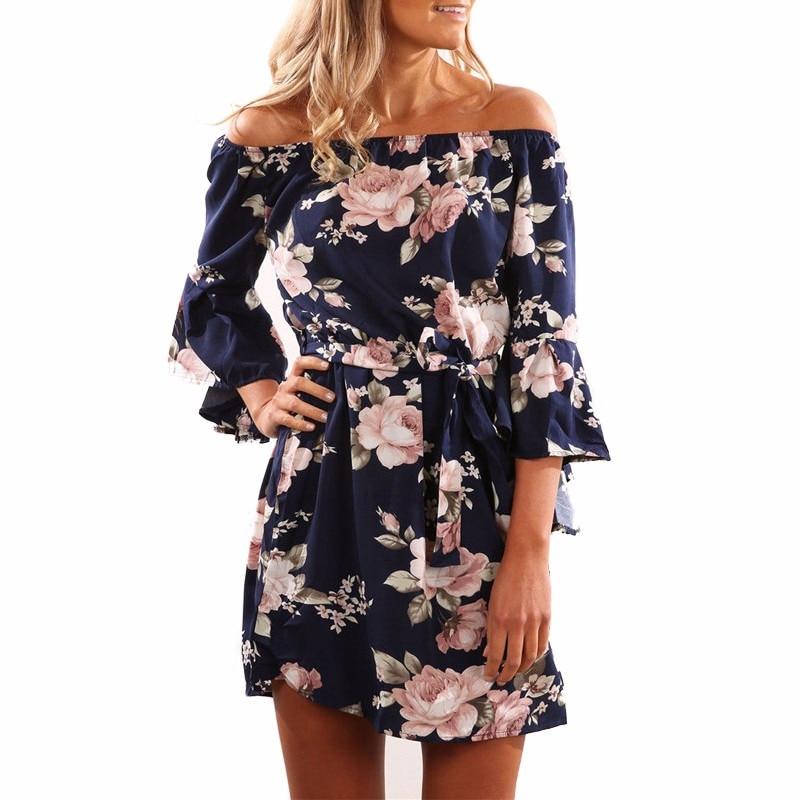 66ff27ca6d076 Women Dress 2019 Summer Sexy Off Shoulder Floral Print Chiffon Dress ...