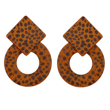 New Leopard Print Stud Earrings Round Acrylic Earrings Exaggeration Geometric Statement Earrings For Women Party Jewelry Gift цены