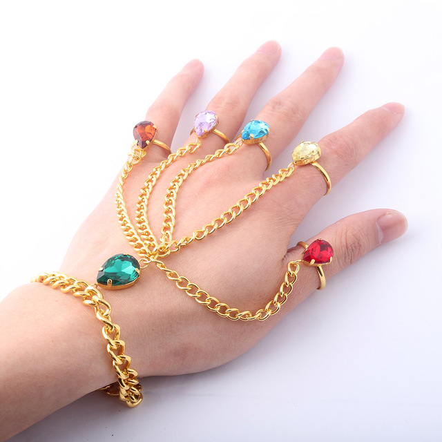SG 15Pcs Lot Avengers 3 Infinity War Crystal Bracelets Gold Thanos Gauntlet  Slave Hand Finger Bangles Girl Lady Jewelry Gift fba961c85f09