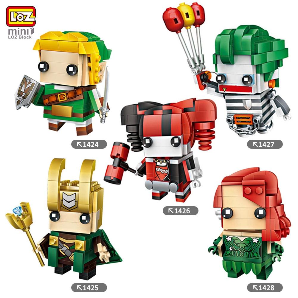 LOZ Mini Blocks Super Hero Batman Robin Ironman Thor Loki Harley Quinn Poison Mini Bricks DIY Building Blocks Toys Gift