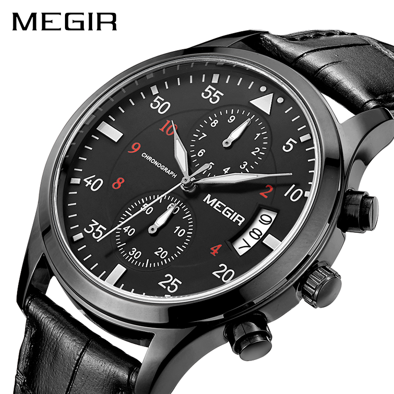 MEGIR Original Men Business Watch Top Brand Luxury Leather Army Military Watch Male Quartz Wrist Watches Relogio Masculino xinge top brand luxury leather strap military watches male sport clock business 2017 quartz men fashion wrist watches xg1080