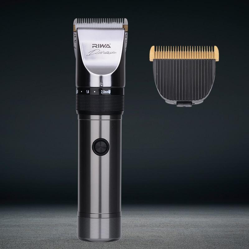 RIWA tondeuse à cheveux silencieuse Machine de coupe de cheveux professionnel tondeuses à cheveux batterie au Lithium titane lame en céramique coiffeur X9 34