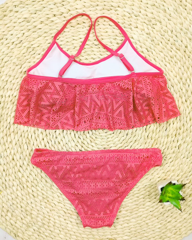 Push Up New 2018 Simple Solid Color Bikini Set Sexy Low Waist Beach Swimwear Women Lace Up Flounce Summer Brazilian Swimsuit 29