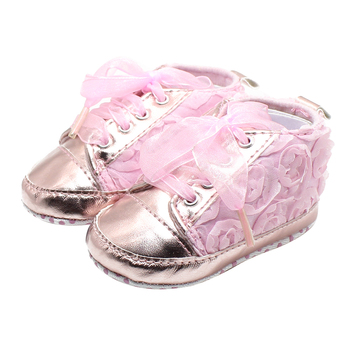 Rose Flowers The Baby Shoes Bud Silk Pink Bright Lace-up Lovely Princess Baby Girl Shoes Factory Price Wholesale bright baby blankies