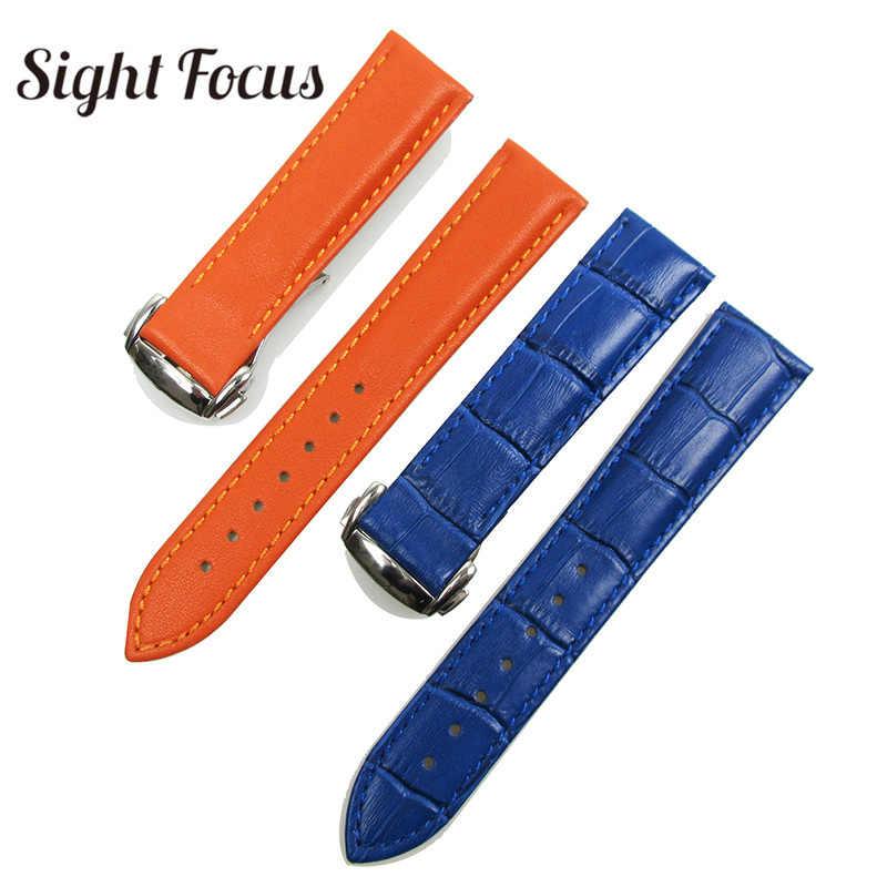 البرتقال الأزرق العجل الجلد جلد حزام (استيك) ساعة ل أوميغا 19 مللي متر 20 مللي متر حزام جلد النساء الرجال Watchbands سوار Montre Reloj