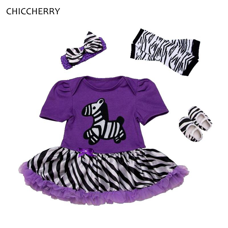 Purple Zebra Print Baby Girl Clothes Infant Lace Dress Headband Legwarmers Shoes Set Fantasia Para Bebe Toddler Birthday Outfits