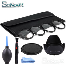 49 52 55 58 62 67 72 77 MM Macro Close Up Filter Set 1 2 + 4 + 10 lens + zonnekap + Cleaning kit voor Canon Nikon Sony DSLR Camera