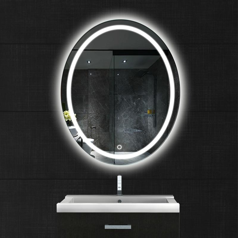 Oval bathroom LED lamp mirror wall hanging bathroom with ...
