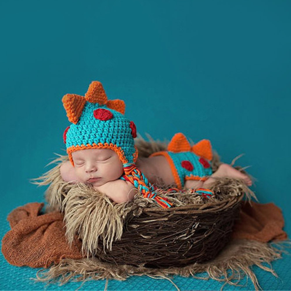 c6af219bbb8 2019 Baby Cap Crocheted Baby Hat Boy Dinosaur Outfit New Born ...