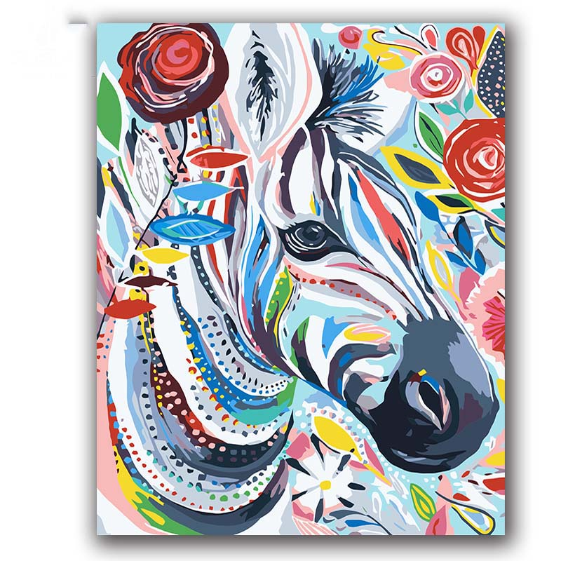Colorful Cow abstract painting by numbers animals on canvas drawing for coloring   with paint package  hoom decor|Painting & Calligraphy| |  - title=