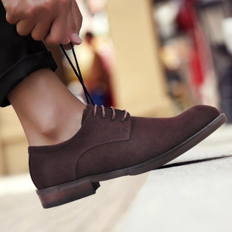 Italyan Retro Shoes Vestem Brown Erkek Homens Oxford Da Preto Mokasen Lace Vaca Up Couro Black Casuais Sapatos Moda De Camurça 2019 brown Se g5wq6ECAx