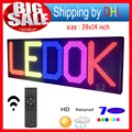 "Remote control LED Sign 7Color 39""x14""  Programmable Scrolling Outdoor Message led Display Open"
