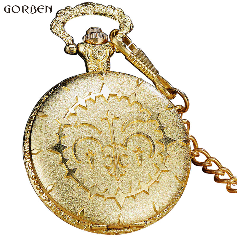 Luxury Round Golden Steampunk Quartz Pocket Watch With FOB Waist Chain Vintage Anime Fans Cosplay Pocket Watch Women Mens Gifts