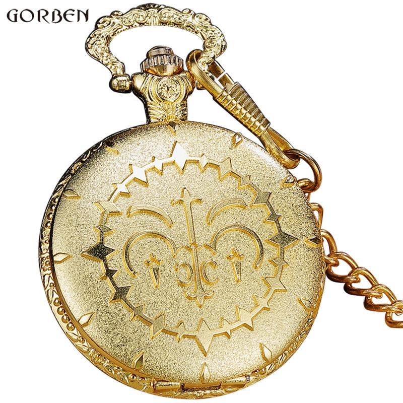 Luxury Round Golden Steampunk Quartz Pocket Watch With FOB Waist Chain Vintage Anime Fans Cosplay Pocket Watch Women Mens Gifts