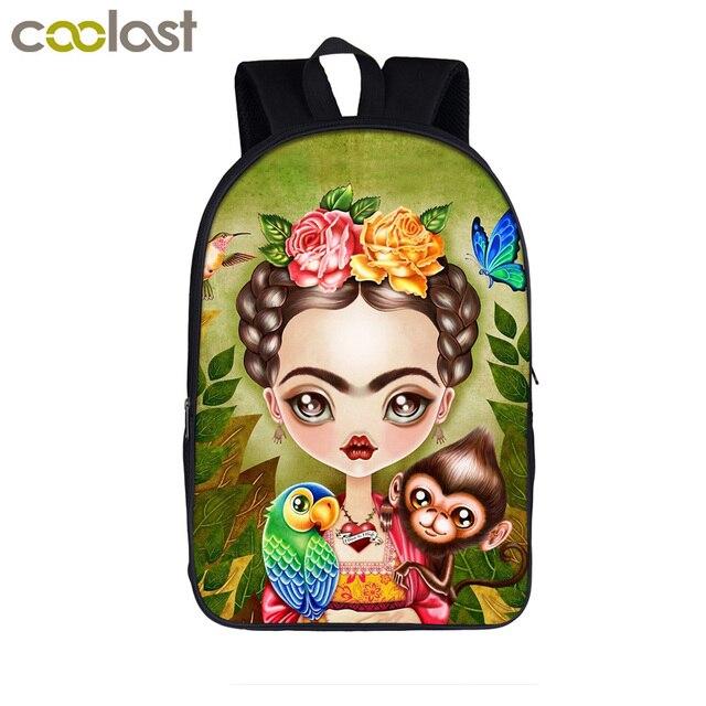 Frida kahlo print backpack for teenager girls school bags women casual bag  laptop backpack student school f6c5694d6cd41
