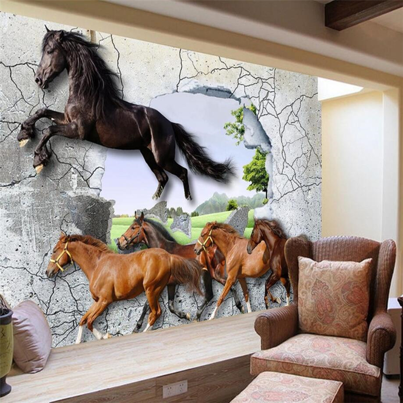 beibehang Custom 3D wallpaper 3D horse TV background living room bedroom wall home decoration wallpaper 3d horse rushing window living room decoration wall stickers
