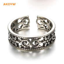 2016 New Lady fashion totem antique silver Thai silver hollow black high-quality silver jewelry cute ring opening