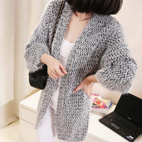 New Style Nice Autumn Winter Women Fashion Casual Long Knitted Mohair Cardigans Stripe Loose Slim Cardigan