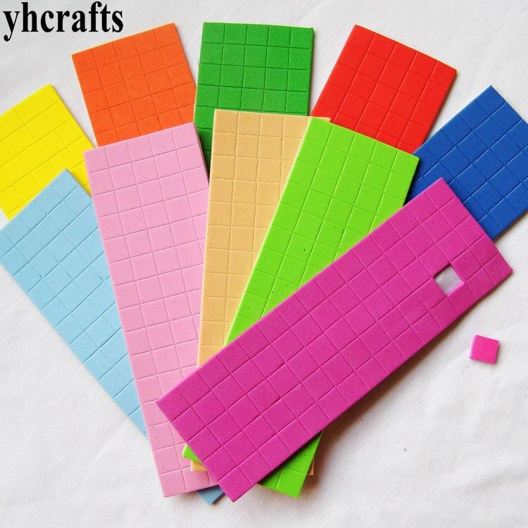 50 Sheets 5bags 3750PCS stickers Lot 10 color 1cm mosaic cube foam stickers Craft material Kindergarten