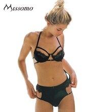 Missomo Women Lace Halter Bralette Female Sexy Bra Brief Seamless Wire Free Floral Underwears Thin Ladies Lingerie