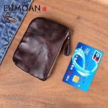 EUMOAN Genuine Leather Coin Purses Women's Small Change Money Bags Pocket Wallets Key Holder Case Mini Pouch Zipper Mini Wallet недорого