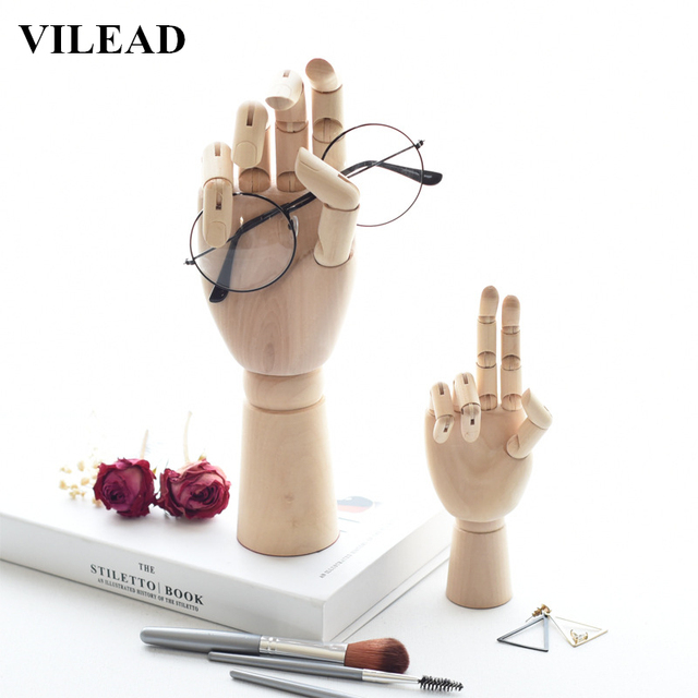 vilead 3 size 7 10 12 inch wood hand figurines rotatable joint hand