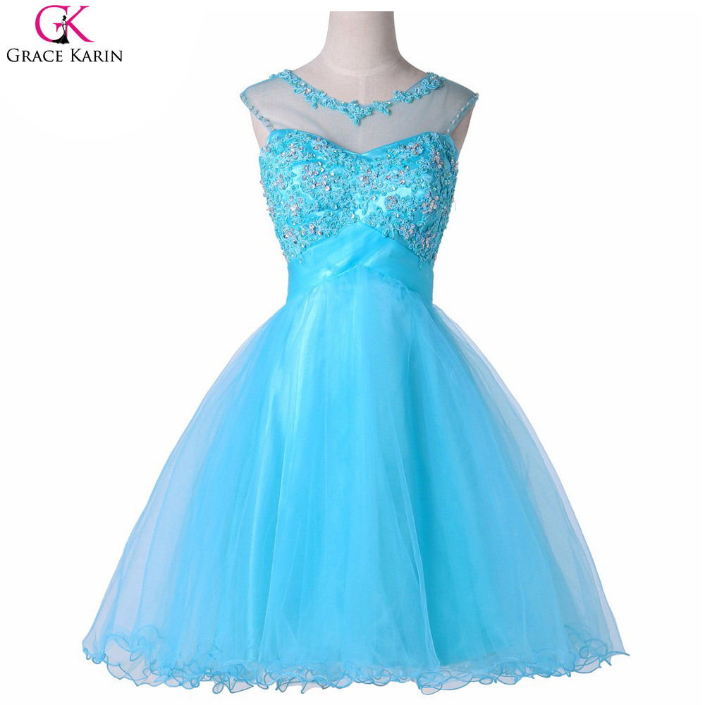 Grace Karin Short Prom Dresses Tulle Lace Backless Cute Formal ...