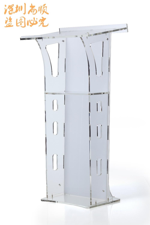 Clear Acrylic Commercial Pulpit Funitures Podium Plexiglass