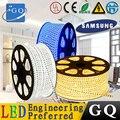 100 mfactory venta 5050 LED tira flexible cinta de luz LED de la lámpara 5050 led cadena cinta haz 220 v 230 v 240 v 60 leds/m Impermeable