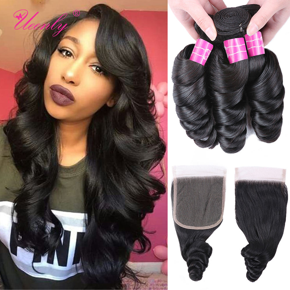 UEENLY Loose-Wave-Bundles Closure Hair-Wave Brazilian with Non-Remy 4--4