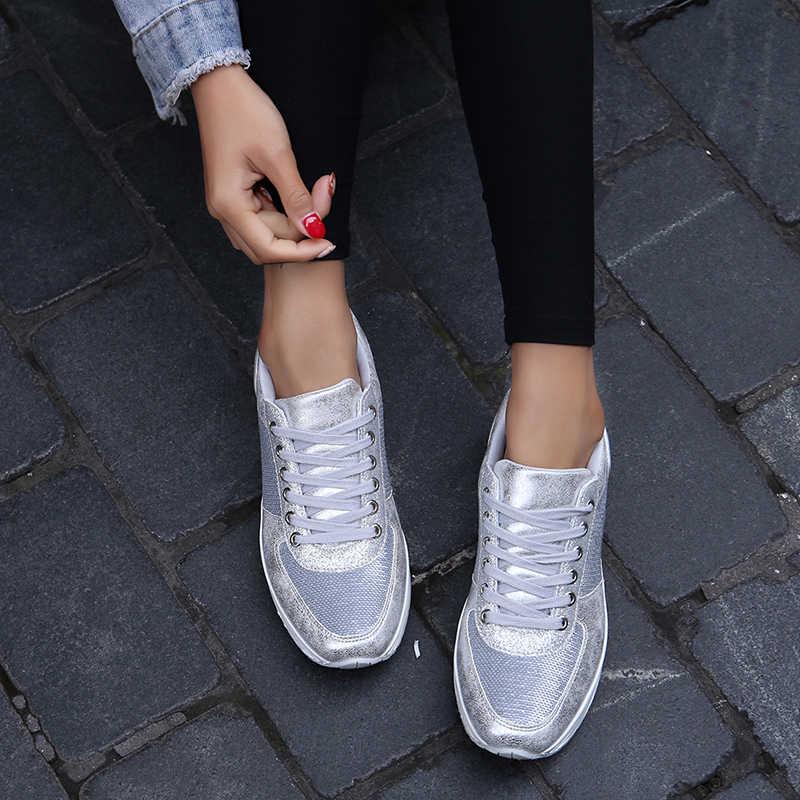 Loveontop Donne Scarpe Da Tennis Scarpe Donna Appartamenti di Scarpe Argento di Bling Lucido di Pesce Bilancia Disegno Vulcanize Scarpe Appartamenti Scarpe Da Ginnastica Femminile
