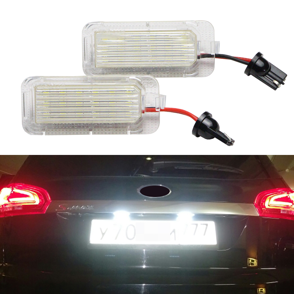 2 x Rear Registration Number Plate Bulb LED License Plate Light for FORD Focus 5D Fiesta Mondeo C-Max S-Max Kuga Galaxy No Error atreus car led license plate lights 12v for ford focus 2 c max accessories no error 2x white smd led number plate lamp bulb kit