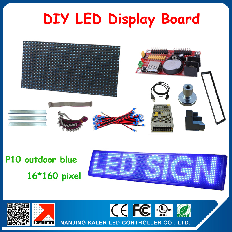 5pcs P10 Outdoor Blue Color Waterproof LED Screen Modules DIP Led Sign Board & Back Filler Strip,power Cable,data Cable Diy Kits