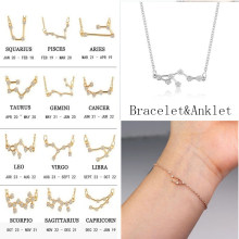 Trendy 12 Zodiac Constellation Chain Bracelet For Women Vintage Gold Sliver Color Crystal Anklet 2019 Bracelet Bohemian Jewelry(China)