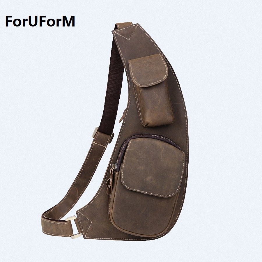 ForUForM 2017 Men Sling Messenger Bags Cross body bag Cowhide Leather Chest Bag Brown Chest packs free shipping