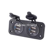 Nueva DIY Adaptador de Cargador de Coche 12/24 V Dual Agujeros 4-Port USB 5 V 1A + 2.1A Cigarrillo A Prueba de agua más ligero