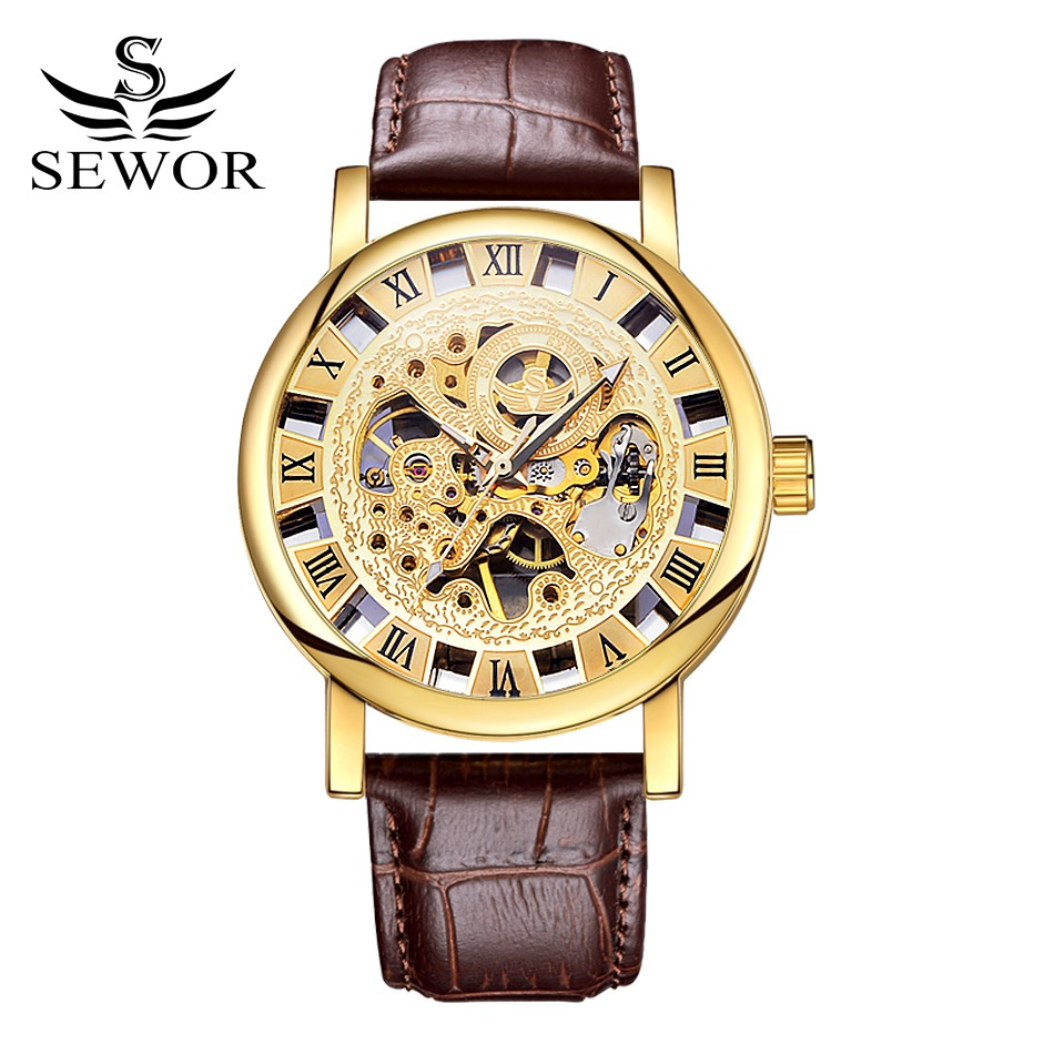 Sewor Brand Business Casual Leather Mechanical Skeleton Wristwatch font b Mens b font Sport Watches Gold