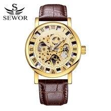 Sewor Marca Casual de Negocios de Cuero Esquelético Mecánico Reloj Para Hombre Relojes Deportivos de Oro Hueco de Moda de Lujo Reloj XR1008
