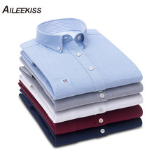 AILEEKISS 2019 100%Cotton Mens Shirt Solid Men Dress Shirts Spring Autumn Casual Man Oxford Textile Soft Male XT788