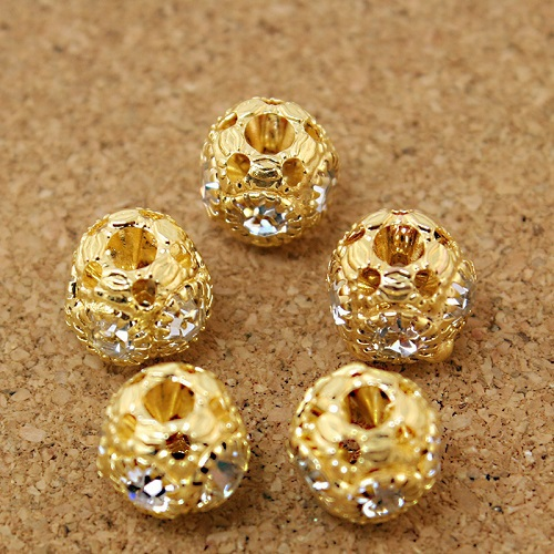 3a3be31b03d62 100 قطعة الوحدة 8x9 ملليمتر جولة شكل الذهب حجر الراين الخرز فاصل diy  لالأزياء سوار صنع