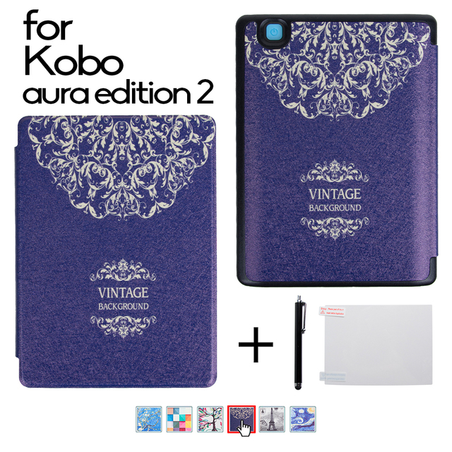 Case for 2016 New Kobo Aura Edition 2 6'' Ereader Silk Grain Protective Skin Case Smart Cover + Protector Film + Stylus