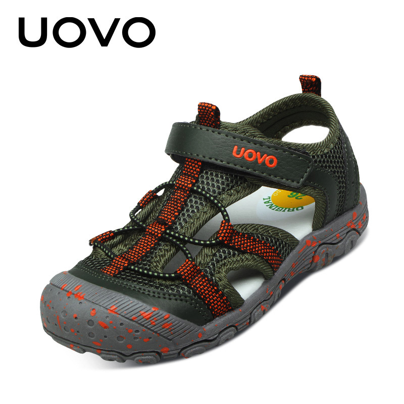 UOVO 2017 New Arrival Summer Kids Sandals Closed Toe Protection Boys Sandals Sport Breathable Beach Shoes Children Eur Size25-34 kelme 2016 new children sport running shoes football boots synthetic leather broken nail kids skid wearable shoes breathable 49