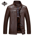 Brown & Dark Brown Mens Casual PU Jackets Stand Collar Faux Leather Jacket For Men Thicken Leather Jackets Zipper Coats Clothing